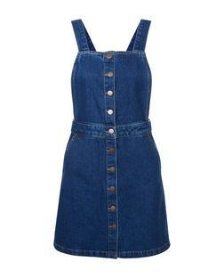 Petite Blue Denim Button Pinafore Dress | New Look