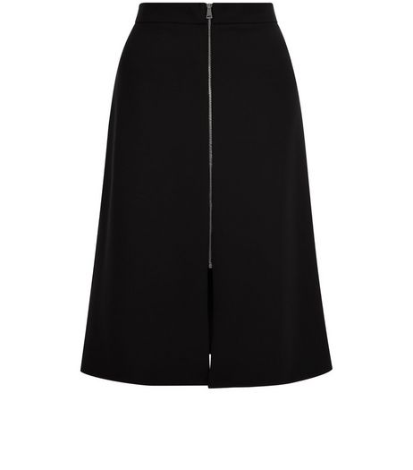 Black Scuba Zip Front Midi Skirt  | New Look