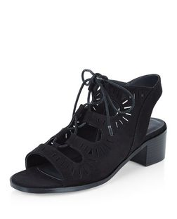 Teens Black Laser Cut Out Ghillie Heels | New Look