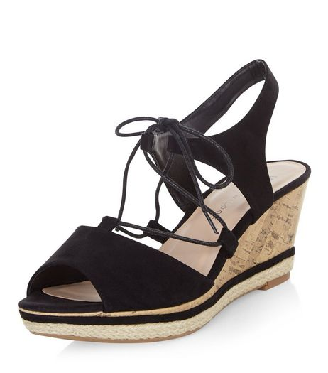 Teens Black Suedette Lace Up Wedges | New Look