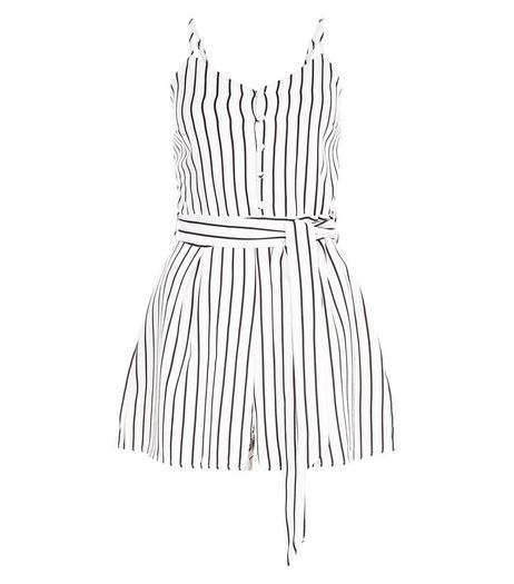 Parisian White Stripe Belted Playsuit | New Look