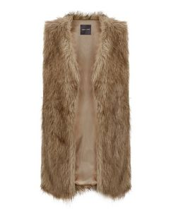 Light Brown Faux Fur Gilet  | New Look