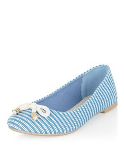 Teens Blue Stripe Canvas Ballet Pumps  | New Look