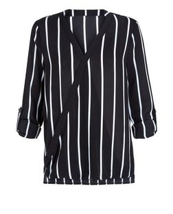 Parisian Black Stripe Long Sleeve Wrap Top  | New Look