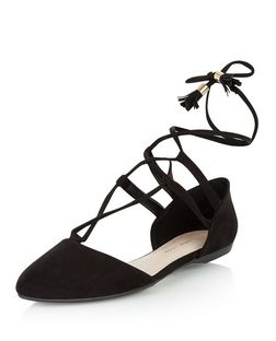 Teens Black Suedette Pointed Ghillie Pumps  | New Look