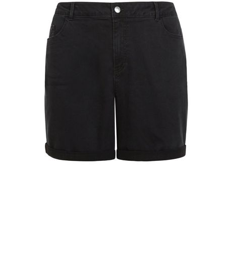 Curves Black Denim Boyfriend Shorts | New Look