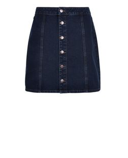 Dark Blue Button Front A-Line Denim Skirt  | New Look