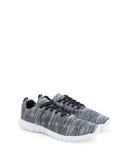 Black Stretch Knitted Trainers  | New Look