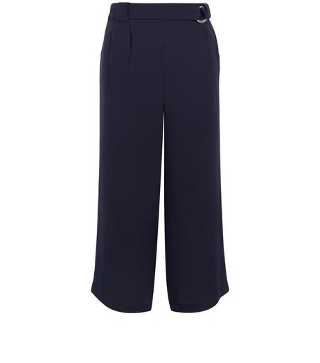 Navy D-Ring Belted Waist Culottes  | New Look