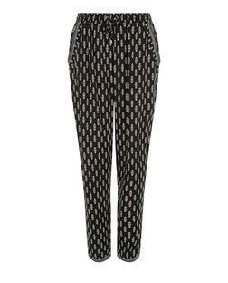 Black Geo Tile Print Slim Leg Trousers | New Look