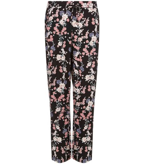 Black Floral Print Wide Leg Trousers  | New Look