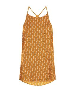 Orange Tile Print High Neck Cami  | New Look