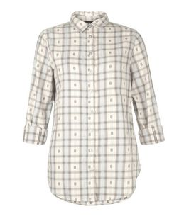 White Embroidered Check Roll Sleeve Shirt  | New Look