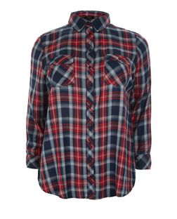 Curves Blue and Red Check Long Sleeve Shirt  | New Look