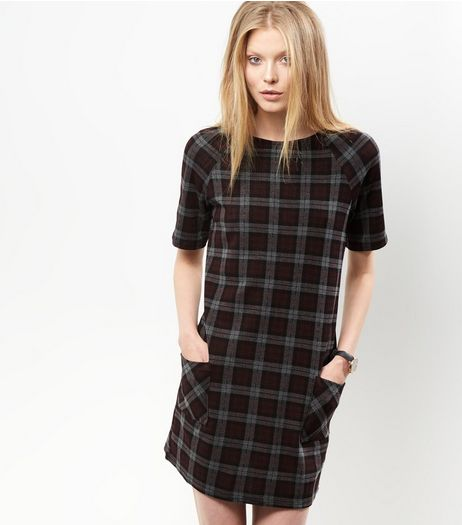 Grey Check Tunic Dress | New Look