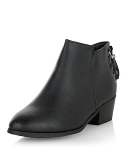 Wide Fit Black Lace Up Tassel Back Ankle Boots  | New Look