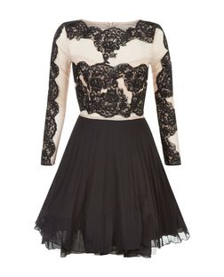 AX Paris Cream Lace Panel Skater Dress | New Look