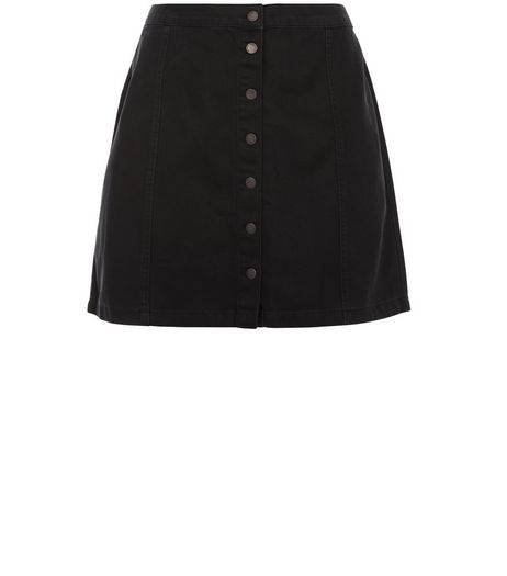 Curves Black Button Front Denim Skirt  | New Look