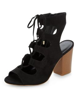 Wide Fit Black Suedette Peeptoe Ghillie Block Heels  | New Look