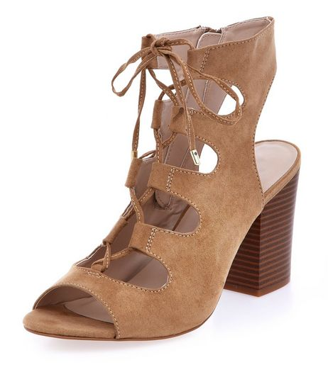 Wide Fit Camel Suedette Peeptoe Ghillie Block Heels  | New Look