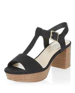 Teens Black Suedette T-Bar Sandals | New Look