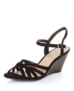 Wide Fit Black Suedette Ankle Strap Wedges  | New Look