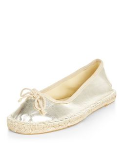 Gold Espadrille Ballet Pumps  | New Look