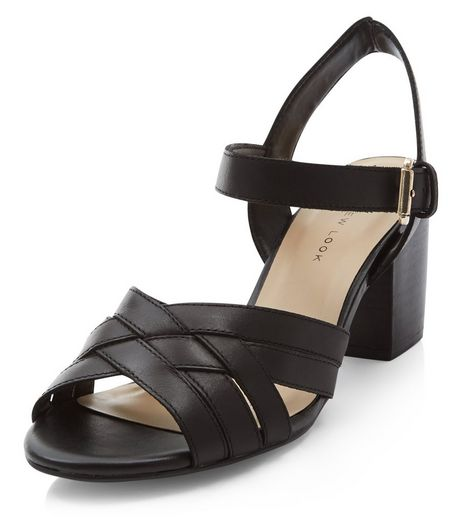 Wide Fit Black Leather Cross Strap Block Heel Sandals  | New Look