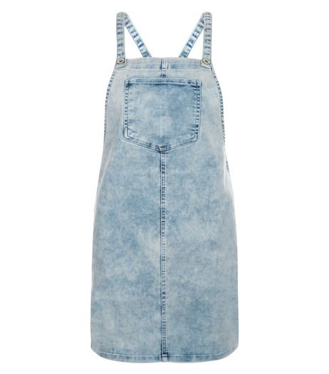 Teens Pale Blue Denim Pinafore Dress | New Look