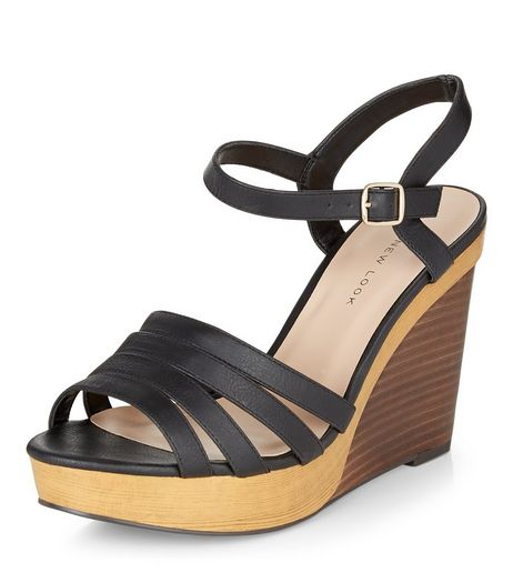 Wide Fit Black Strappy Contrast Wooden Wedges  | New Look