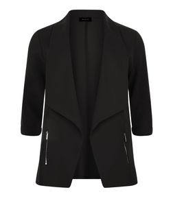Plus Size Black Zip Pocket Blazer | New Look