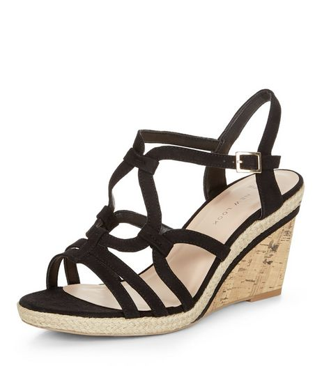 Wide Fit Black Suedette Swirl Strap Wedges  | New Look