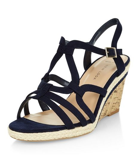 Wide Fit Navy Suedette Swirl Strap Wedges  | New Look