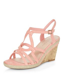 Wide Fit Coral Suedette Swirl Strap Wedges  | New Look