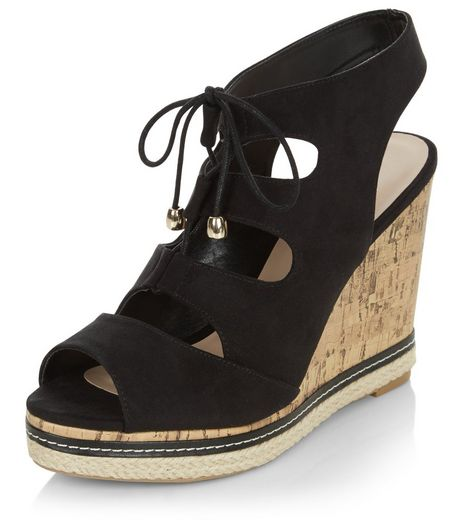 Wide Fit Black Suedette Ghillie Wedges  | New Look