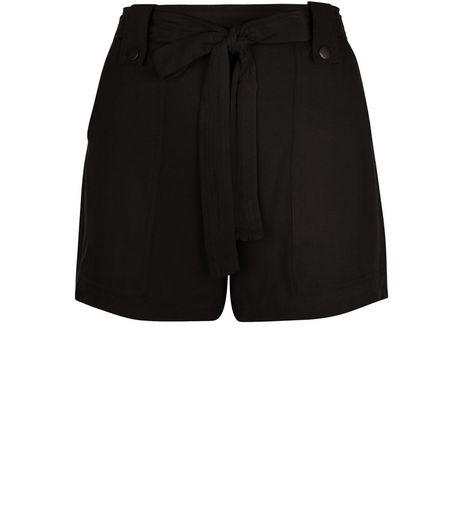 Black Viscose Belted Shorts  | New Look