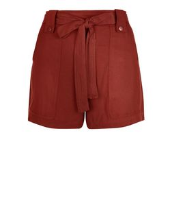 Rust Viscose Belted Shorts  | New Look