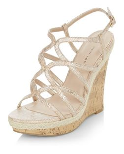 Wide Fit Gold Multi Strap Wedges  | New Look