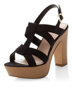 Wide Fit Black Cross Strap Contrast Wooden Heels  | New Look