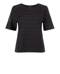 Black Braided Stripe Boxy T-Shirt  | New Look
