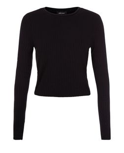 Black Ribbed Space Dye Long Sleeve Top | New Look