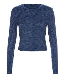 Navy Ribbed Space Dye Long Sleeve Top  | New Look