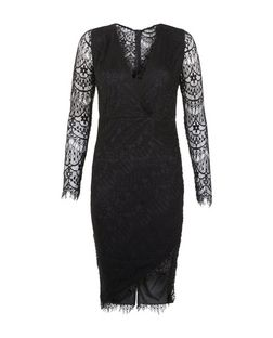 AX Paris Black Lace Long Sleeve Wrap Front Dress | New Look