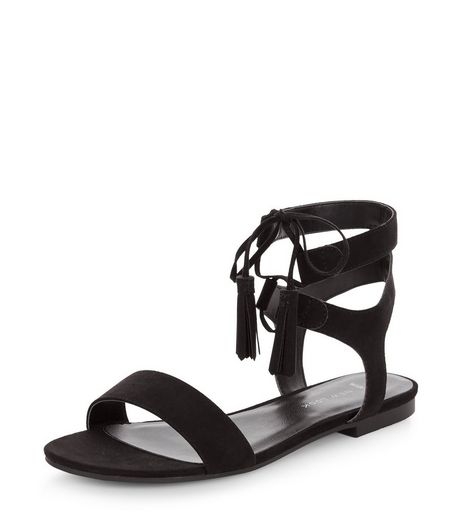 Wide Fit Black Suedette Lace Up Sandals  | New Look