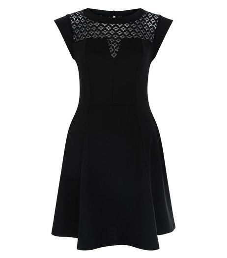 Black Lace Panel Skater Dress  | New Look