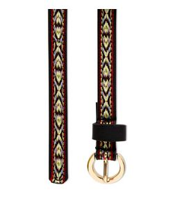 Black Aztec Woven Skinny Belt  | New Look