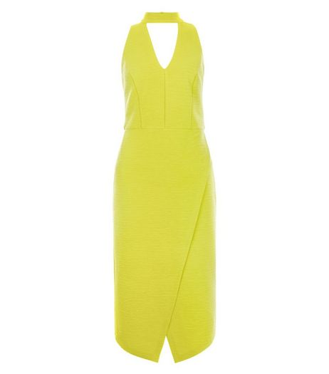 Lime Funnel Neck Wrap Front Bodycon Midi Dress  | New Look