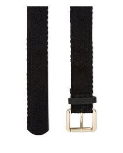 Black Crochet Jeans Belt  | New Look