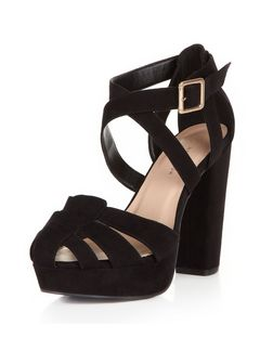 Wide Fit Black Suedette Gladiator Cross Strap Platform Heels  | New Look