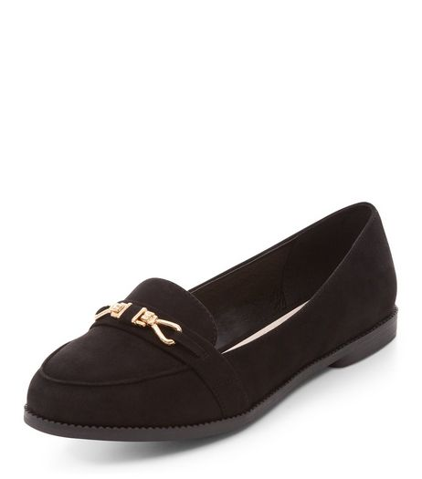 Wide Fit Black Comfort Suedette Metal Trim Loafers  | New Look